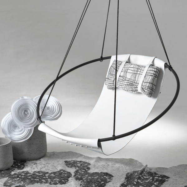 Sling hanging swing chair - LEATHER - Black, Brown, White, Studio Stirling, South Africa