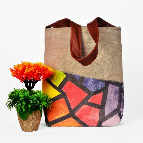 Haastika Designer Sustainable Jute/Canvas Tote Bag - India