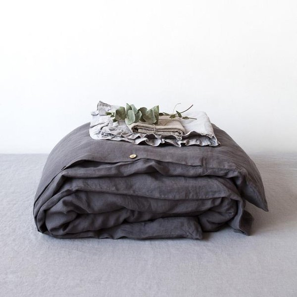 Special Edition | Graphite Washed Linen Duvet Cover - Lithuania