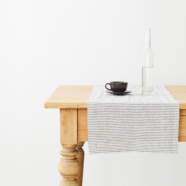 Thin Black Stripes Washed Linen Table Runner - Lithuania