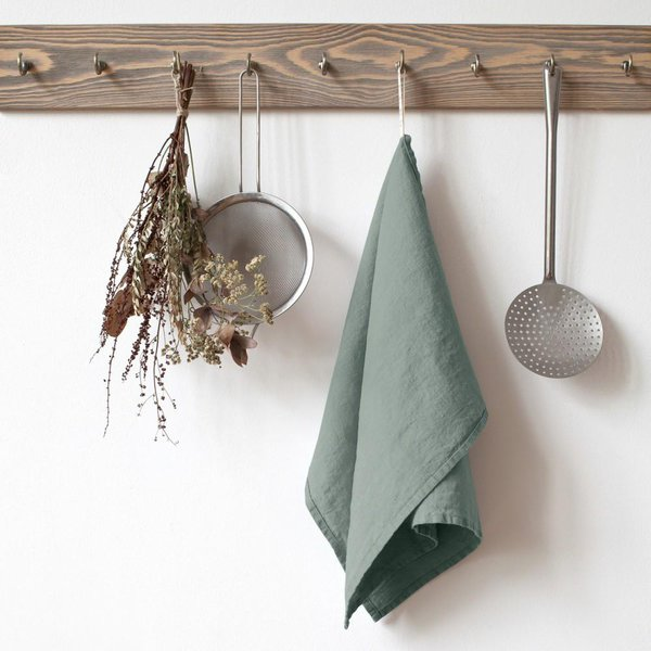 Green Milieu Washed Linen Tea Towel - Lithuania