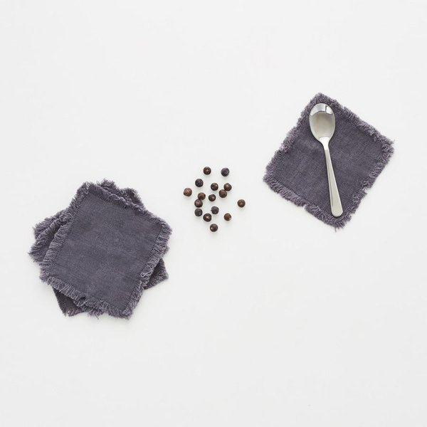 Set of 4 Dark Grey Washed Linen Coasters with Fringes - Lithuania