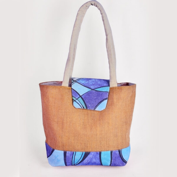 Haastika Ikat Jute & Canvas Printed tote bag - India