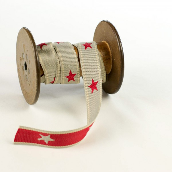 Textile jaquard ribbon red stars - Germany