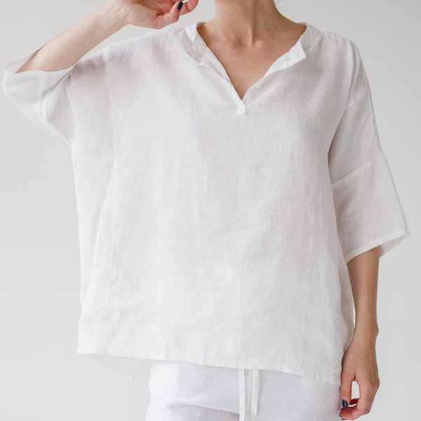 White Women's Pyjama Top - Lithuania