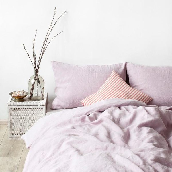 Pink Lavender Washed Linen Bed Set - Lithuania